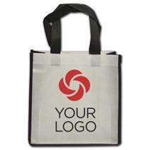"""Printed Black and White Non-Woven Shoppers, 10 x 5 x 10"""""""