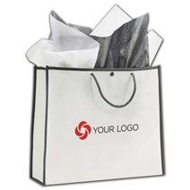 """Printed White/Grey Euro-Style Non-Woven Bags, 14x4 1/2x12"""""""