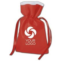 """Printed Red Non-Woven Pouches, 7 x 10"""" + 3"""" Bottom Gusset"""