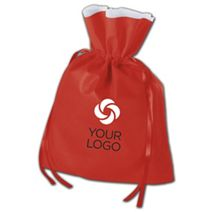 """Printed Red Non-Woven Pouches, 12 x 16"""" + 4"""" Bottom Gusset"""