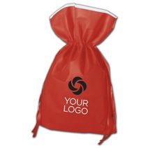 """Printed Red Non-Woven Pouches, 16 x 22"""" + 5"""" Bottom Gusset"""