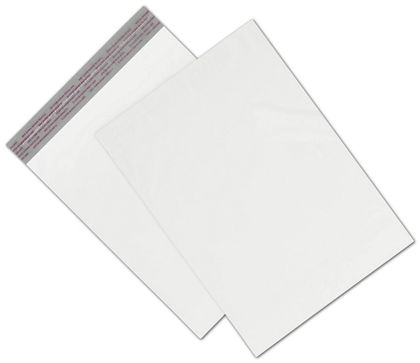 "White Unprinted Poly Mailers, 10 x 13"" + 2"" Flap"