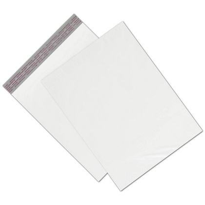 "White Unprinted Poly Mailers, 12 x 15 1/2"" + 2"" Flap"