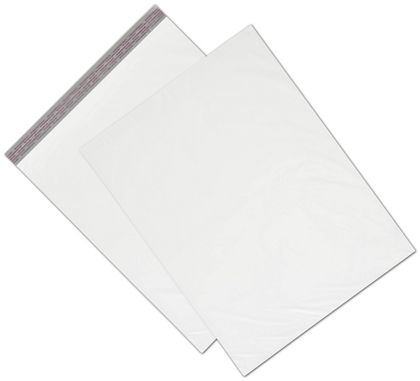 "White Unprinted Poly Mailers, 19 x 24"" + 2"" Flap"