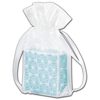 """White Frosted Design Poly Pouches, 6 x 2 x 8 3/4"""""""