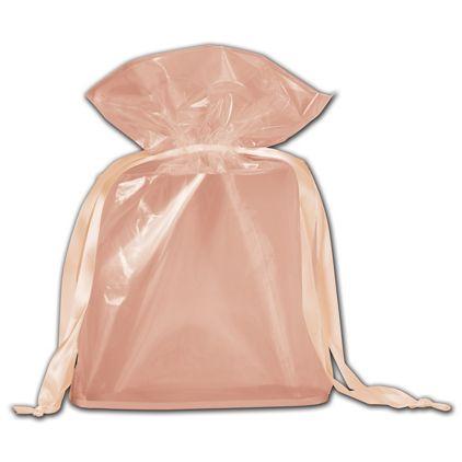 """Peach Opaque Poly Pouches, 6 x 2 x 8 3/4"""""""