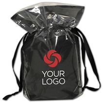 """Printed Black Opaque Poly Pouches, 6 x 2 x 8 3/4"""""""