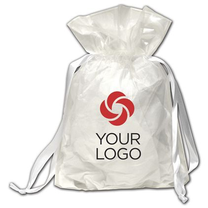 """Printed White Opaque Poly Pouches, 12 x 4 x 16"""""""