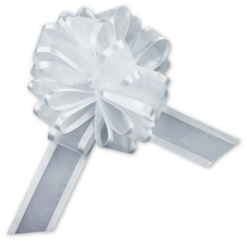 White Sheer Satin Edge Pull Bows, 18 Loops, 1 1/2