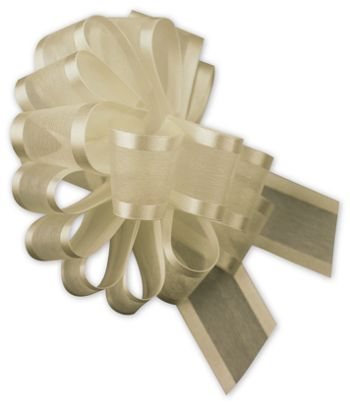 Ivory Sheer Satin Edge Pull Bows, 18 Loops, 1 1/2