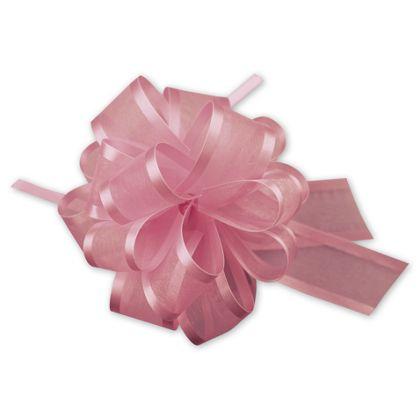 "Pink Sheer Satin Edge Pull Bows, 18 Loops, 1 1/2"" Width"