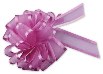 Hot Pink Sheer Satin Edge Pull Bows, 18 Loops, 1 1/2