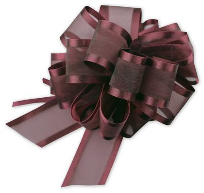 Burgundy Sheer Satin Edge Pull Bows, 18 Loops, 1 1/2""