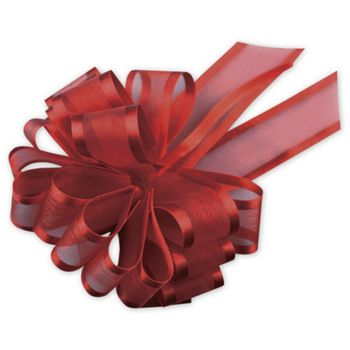 "Red Sheer Satin Edge Pull Bows, 18 Loops, 1 1/2"" Width"