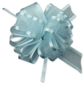 Light Blue Sheer Satin Edge Pull Bows, 18 Loops, 1 1/2