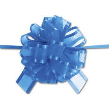 Royal Blue Sheer Satin Edge Pull Bows, 18 Loops, 1 1/2