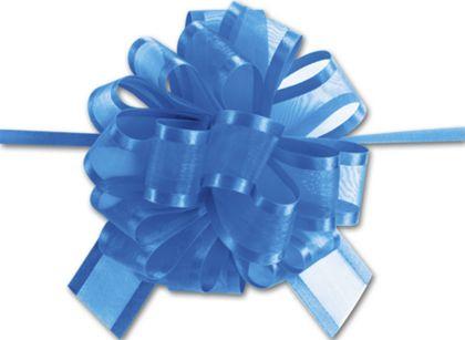 """Royal Blue Sheer Satin Edge Pull Bows, 18 Loops, 1 1/2"""""""