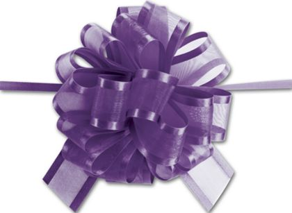 "Purple Sheer Satin Edge Pull Bows, 18 Loops, 1 1/2"" Width"