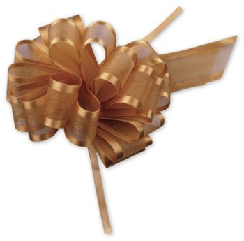 Gold Sheer Satin Edge Pull Bows, 18 Loops, 1 1/2