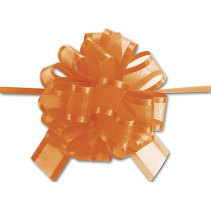 "Orange Sheer Satin Edge Pull Bows, 18 Loops, 1 1/2"" Width"