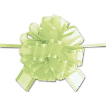 Lime Green Sheer Satin Edge Pull Bows, 18 Loops, 1 1/2