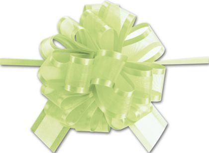 "Lime Green Sheer Satin Edge Pull Bows, 18 Loops, 1 1/2"""