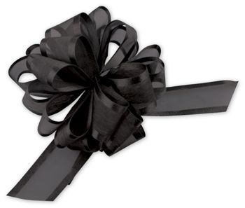 Black Sheer Satin Edge Pull Bows, 18 Loops, 1 1/2
