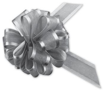 Silver Sheer Satin Edge Pull Bows, 18 Loops, 1 1/2