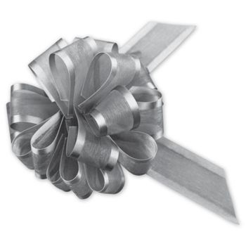 Silver Sheer Satin Edge Pull Bows, 18 Loops, 1 1/2