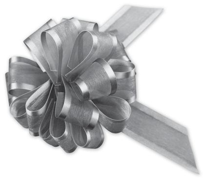"Silver Sheer Satin Edge Pull Bows, 18 Loops, 1 1/2"" Width"