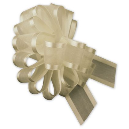 "Ivory Sheer Satin Edge Pull Bows, 18 Loops, 5/8"" Width"