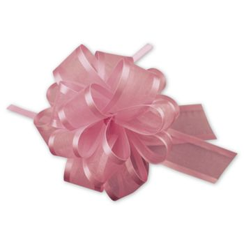 Pink Sheer Satin Edge Pull Bows, 18 Loops, 5/8