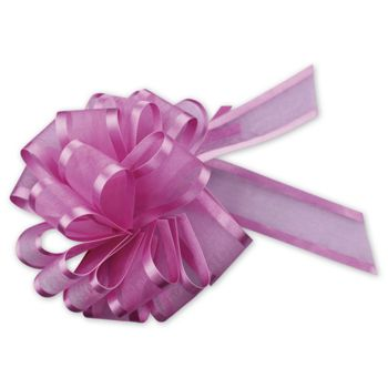 Hot Pink Sheer Satin Edge Pull Bows, 18 Loops, 5/8
