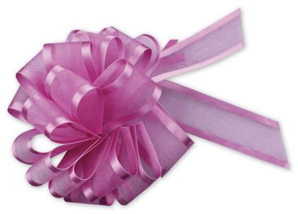 "Hot Pink Sheer Satin Edge Pull Bows, 18 Loops, 5/8"" Width"