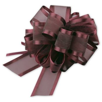 Burgundy Sheer Satin Edge Pull Bows, 18 Loops, 5/8