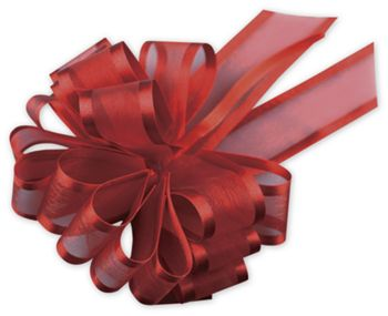 Red Sheer Satin Edge Pull Bows, 18 Loops, 5/8
