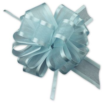 Light Blue Sheer Satin Edge Pull Bows, 18 Loops, 5/8