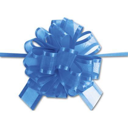 Royal Blue Sheer Satin Edge Pull Bows, 18 Loops, 5/8 Width