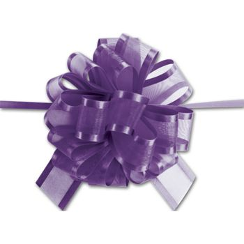 Purple Sheer Satin Edge Pull Bows, 18 Loops, 5/8