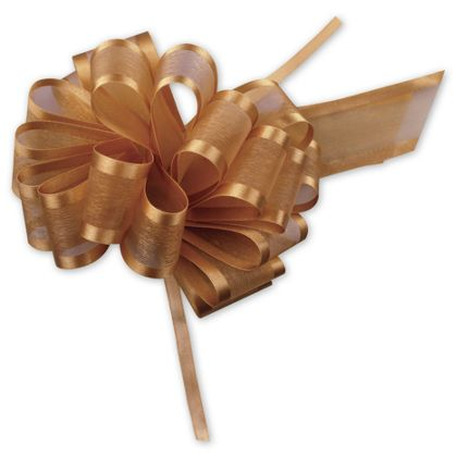 "Gold Sheer Satin Edge Pull Bows, 18 Loops, 5/8"" Width"