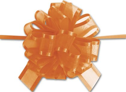 "Orange Sheer Satin Edge Pull Bows, 18 Loops, 5/8"" Width"