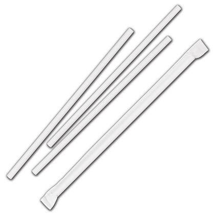 "White Jumbo Paper Straws, 7 3/4"", Wrapped, 2,000 Quantity"