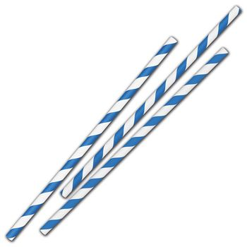 "Blue Stripe Jumbo Paper Straws, 7 3/4"", Unwrapped"
