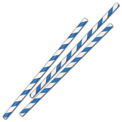 "Blue Stripe Jumbo Paper Straws, 7 3/4"", Unwrapped"