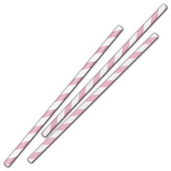 Pink Stripe Jumbo Paper Straws, 7 3/4