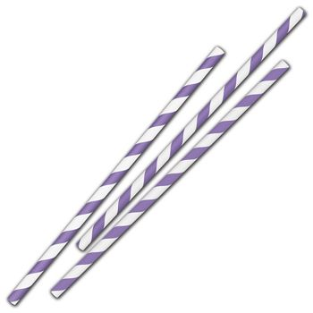 Purple Stripe Jumbo Paper Straws, 7 3/4