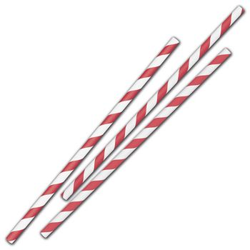 Red Stripe Jumbo Paper Straws, 7 3/4