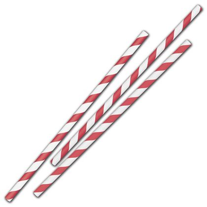 "Red Stripe Jumbo Paper Straws, 7 3/4"", Unwrapped"