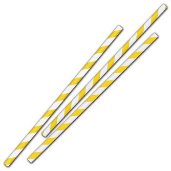Yellow Stripe Jumbo Paper Straws, 7 3/4