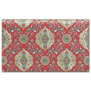 Christmas Tapestry Red Tissue Paper, 20 x 30